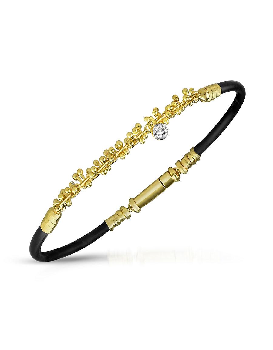 ORLANDO ORLANDINI Central Diamond 18K Gold and Rubber Bracelet