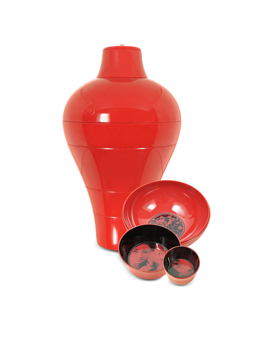 IBRIDE Red Ming Vase / Stackable Bowls