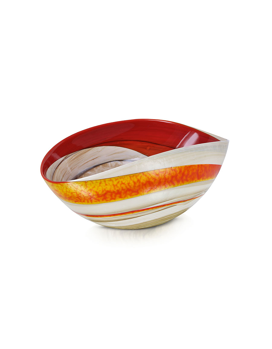 YALOS MURANO Cartoccio Small Red and Ivory Marbled Murano Glass Folded Bowl