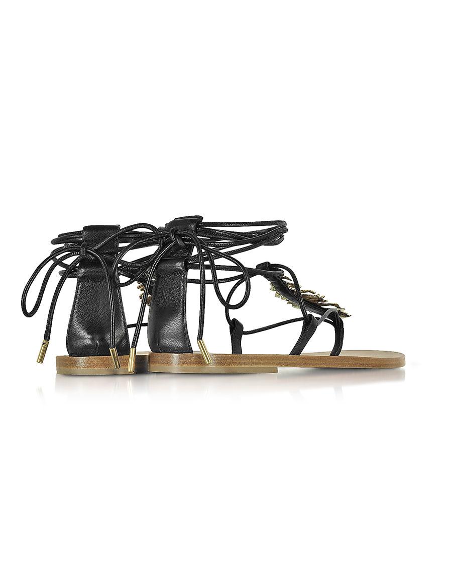 ROBERTO CAVALLI Black Leather Feather Flat Sandals