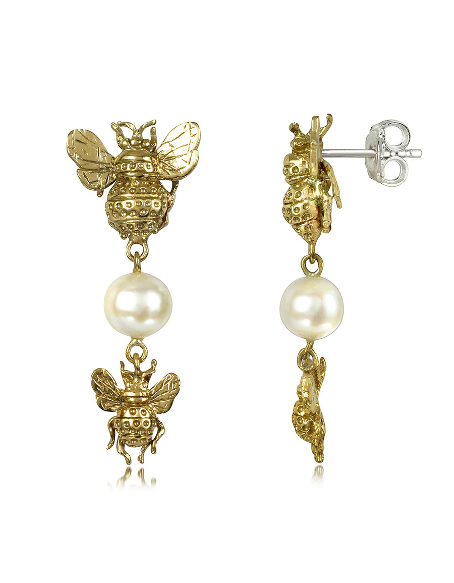 BERNARD DELETTREZ Bees and Pearls Bronze Earrings
