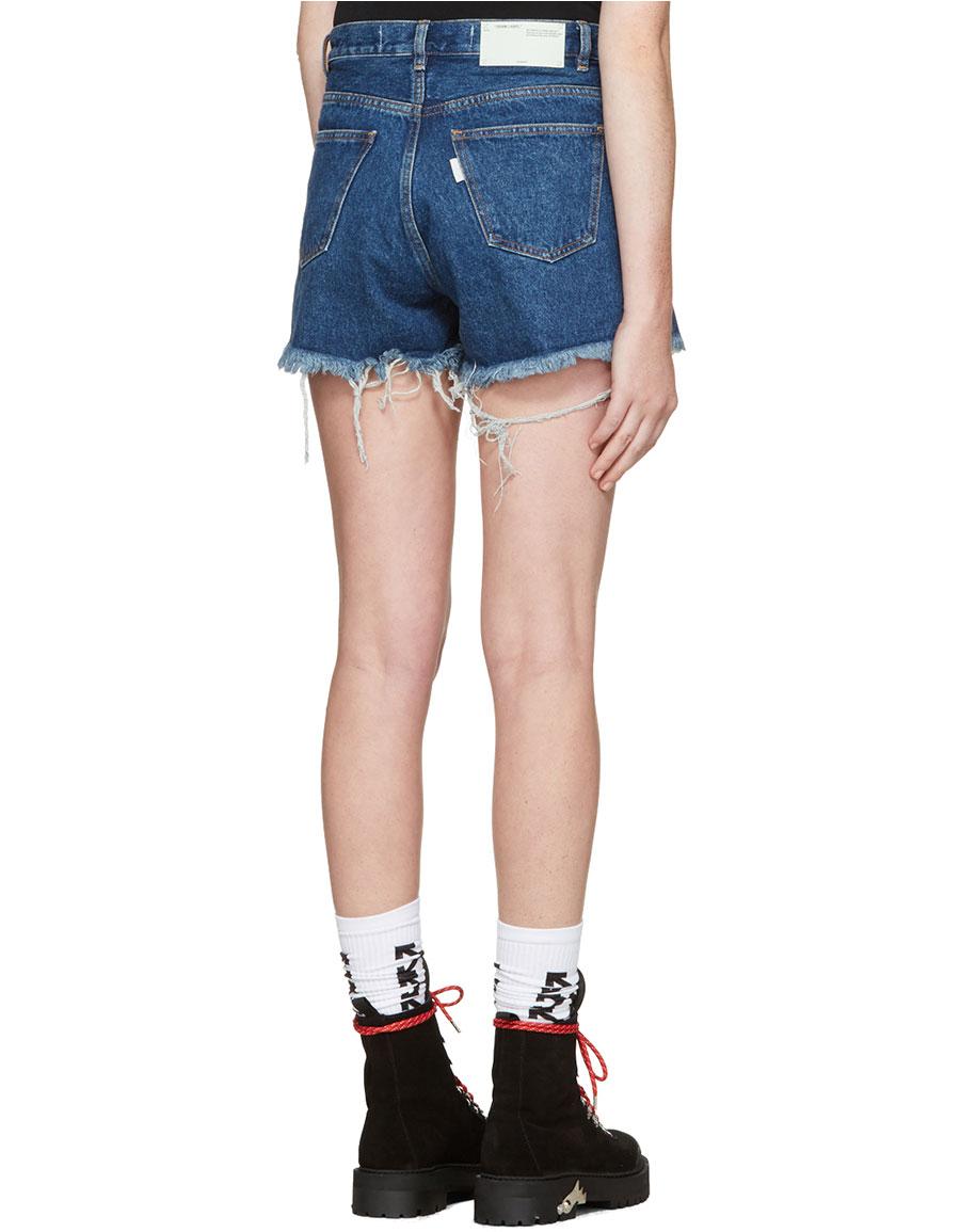OFF WHITE Indigo Denim Roses Shorts