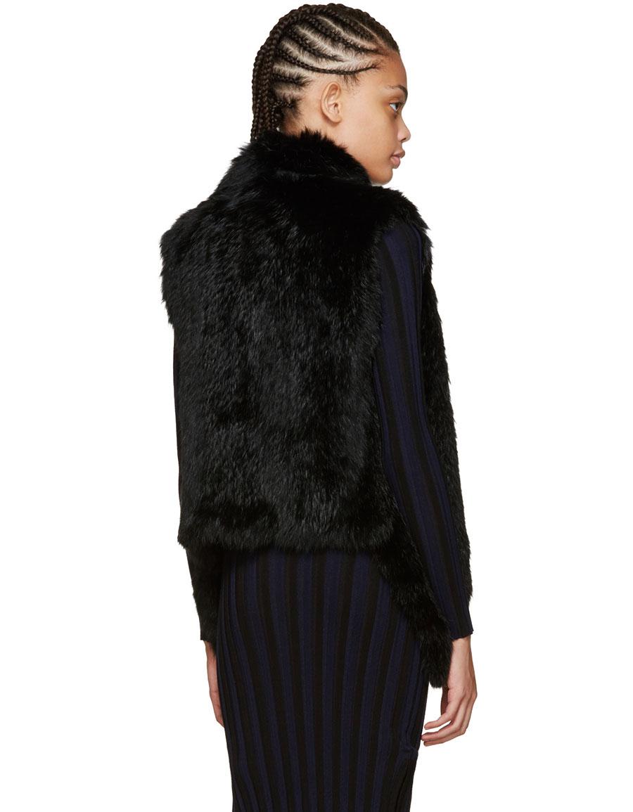 YVES SALOMON Black Knit Fur Vest