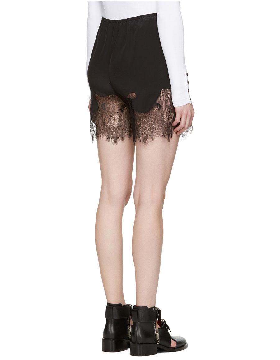 ALEXANDER MCQUEEN Black Fluid Lace Shorts