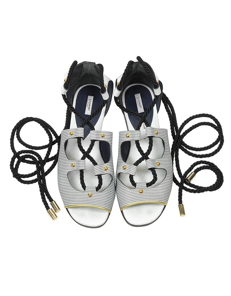 VIONNET Pearl Grey Stripe Leather & Orchid White/Black Elaphe Lace Up Flat Sandal