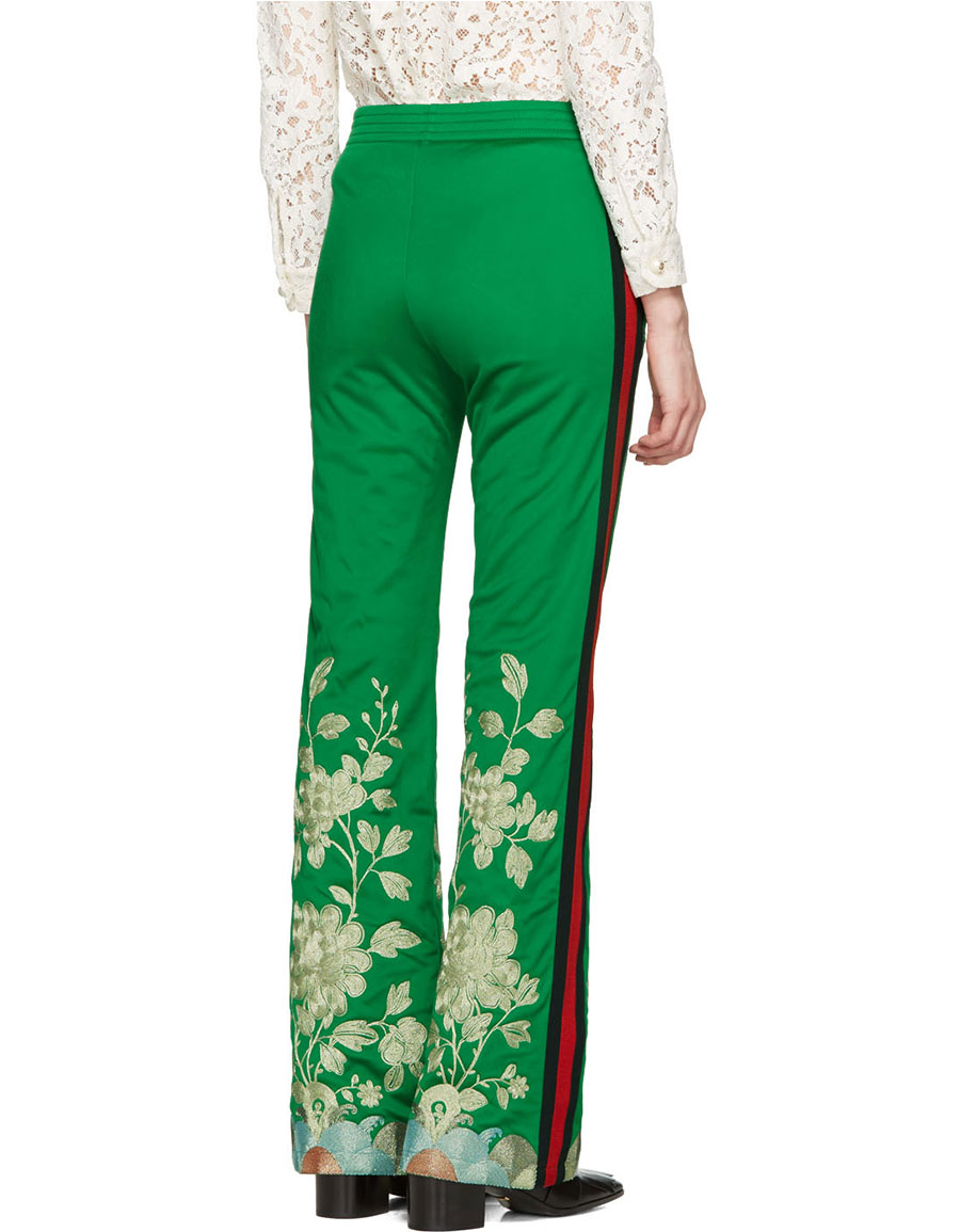 GUCCI Green Embroidered Track Pants