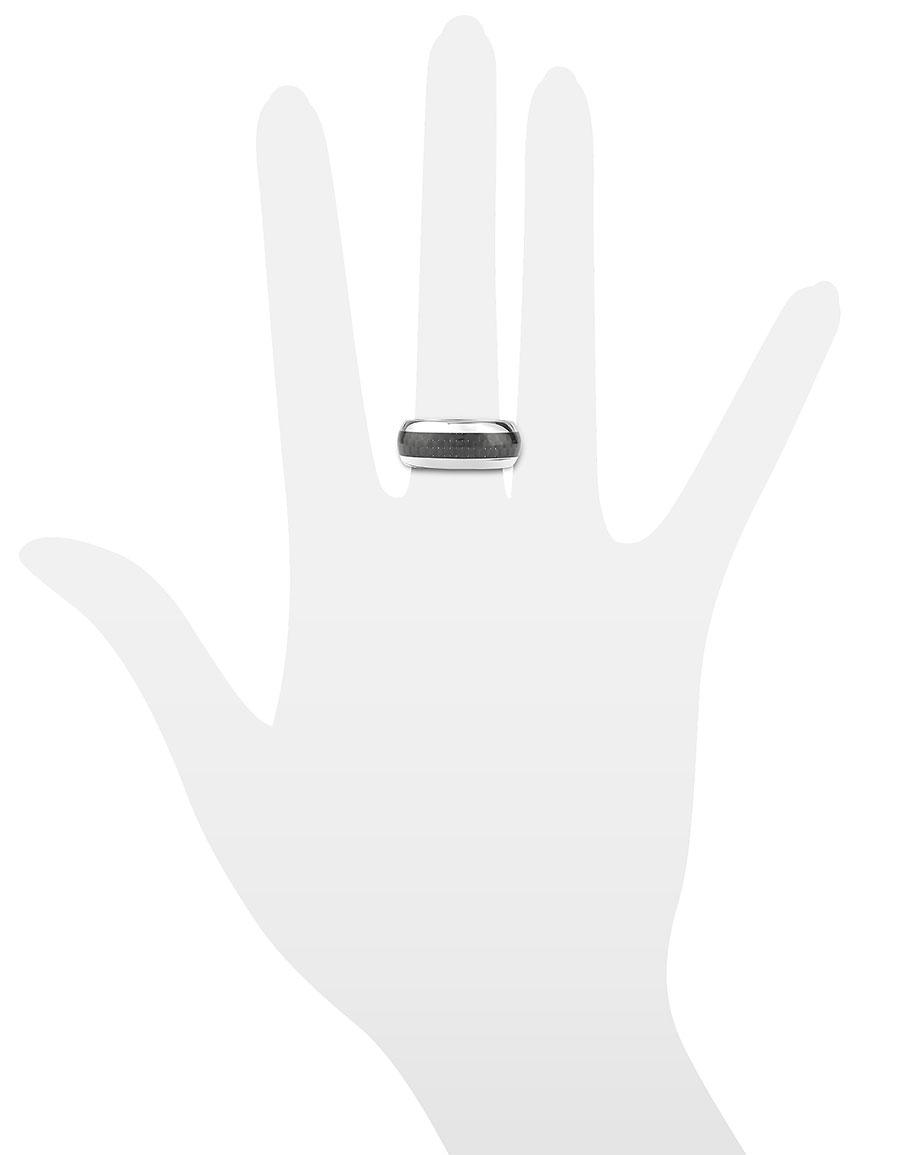 ZOPPINI Zo Dark Carbon Fiber & Stainless Steel Band Ring