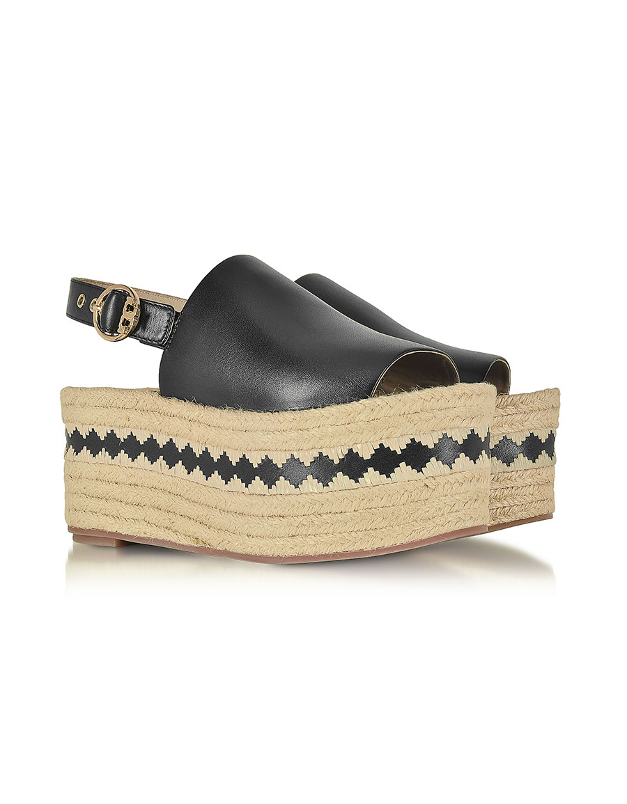 TORY BURCH Dandy Black Veg Leather Wedge Espadrille Sandal