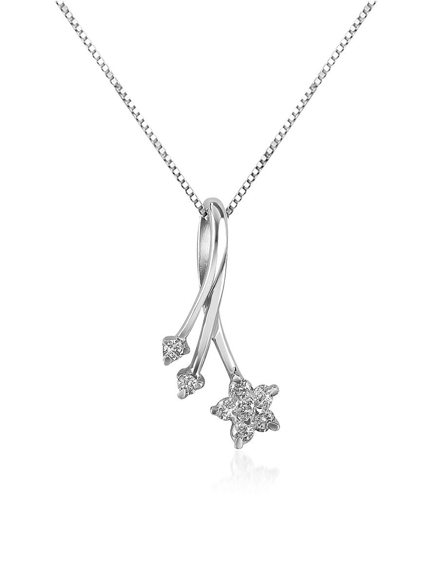 FORZIERI 0.125 ct Diamond Flower 18K Gold Pendant Necklace