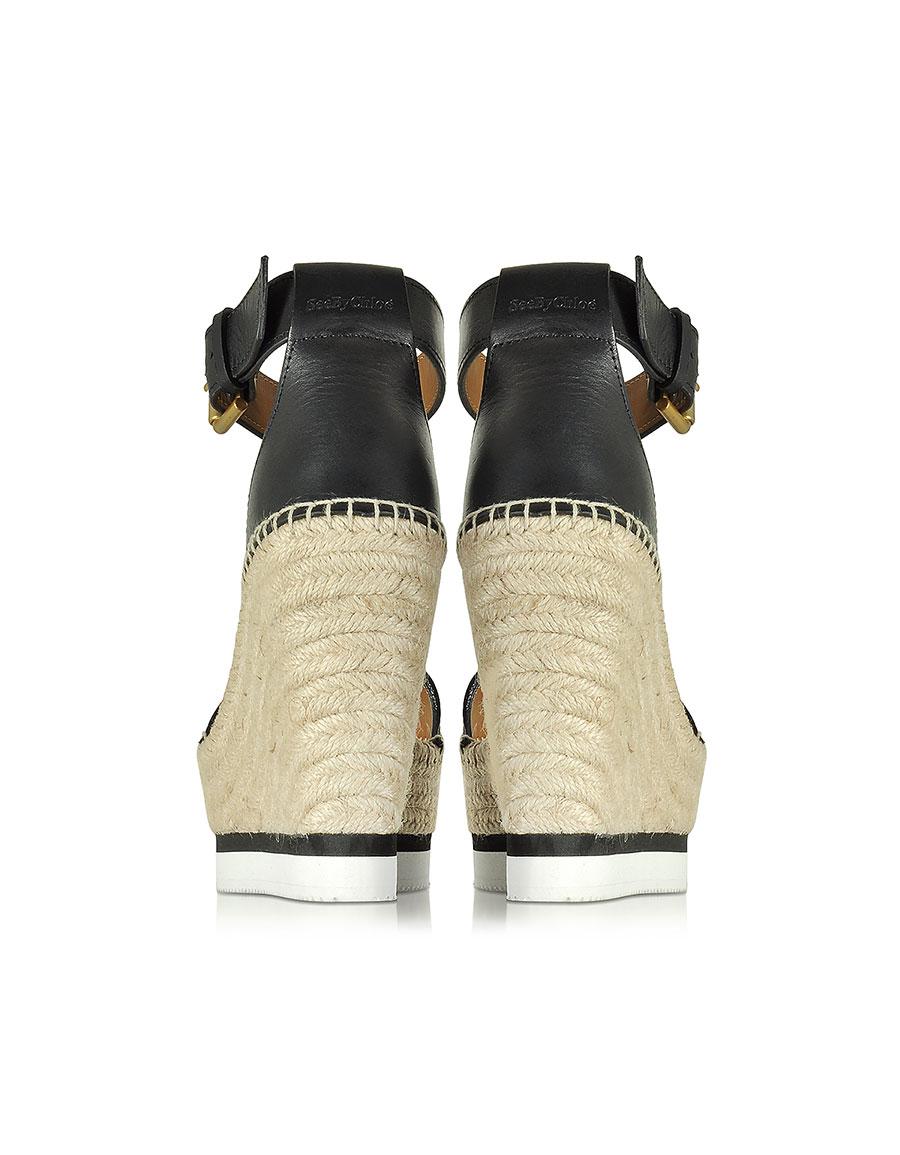 CHLOÉ Black Leather Wedge Espadrilles Sandal