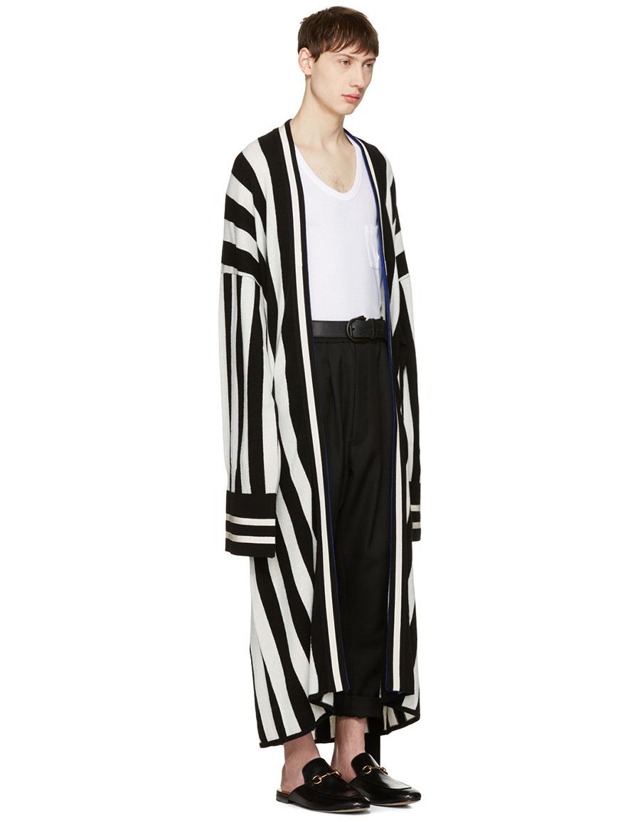 HAIDER ACKERMANN Black Striped Long Cardigan