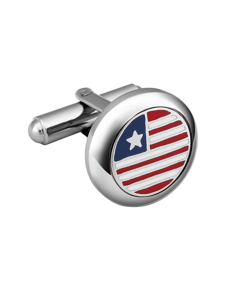 FORZIERI Stars & Stripes US Flag Silver Plated Round Cufflinks