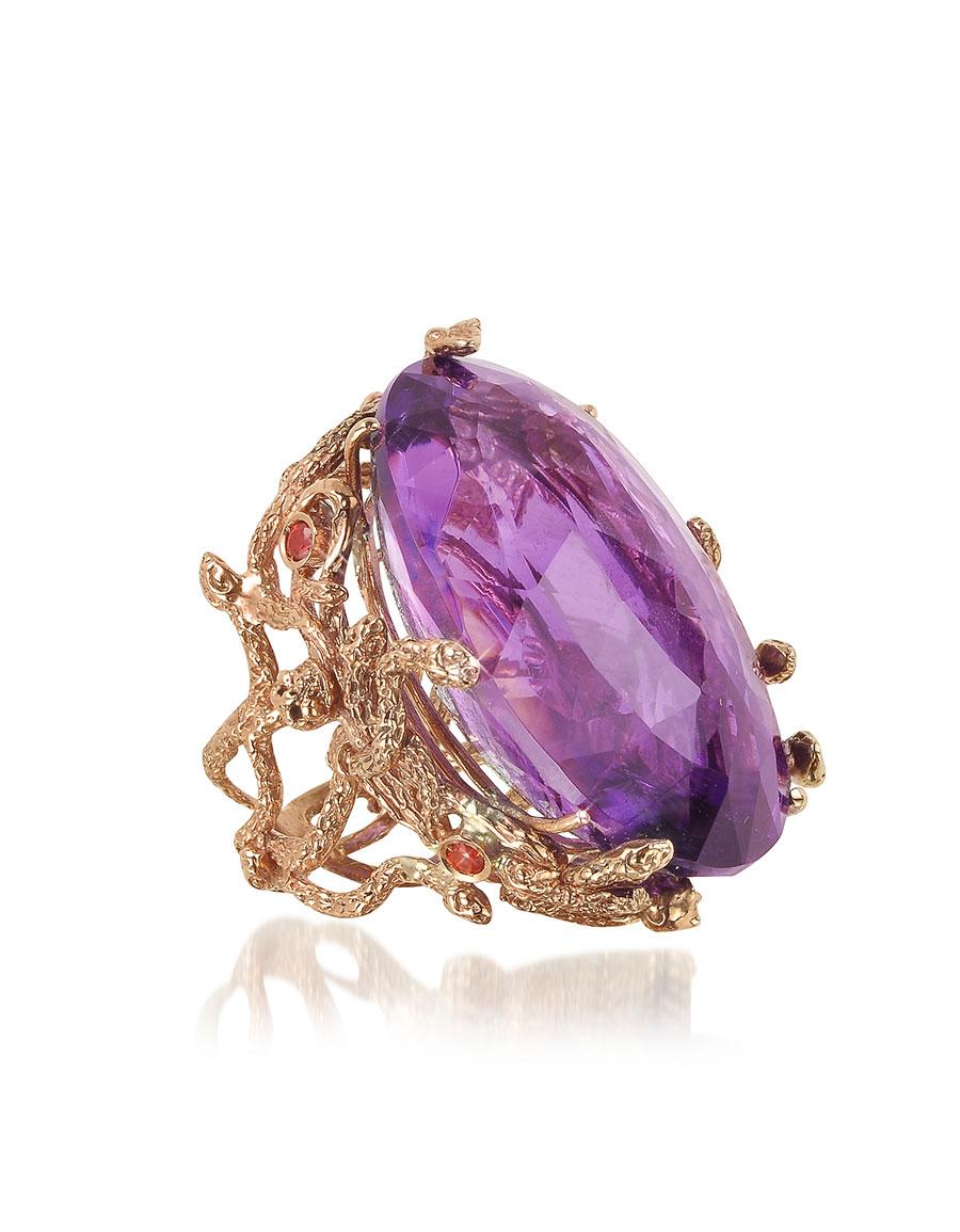 BERNARD DELETTREZ Medusa Rose Gold w/Dark Violet Amethyst Medusa Ring