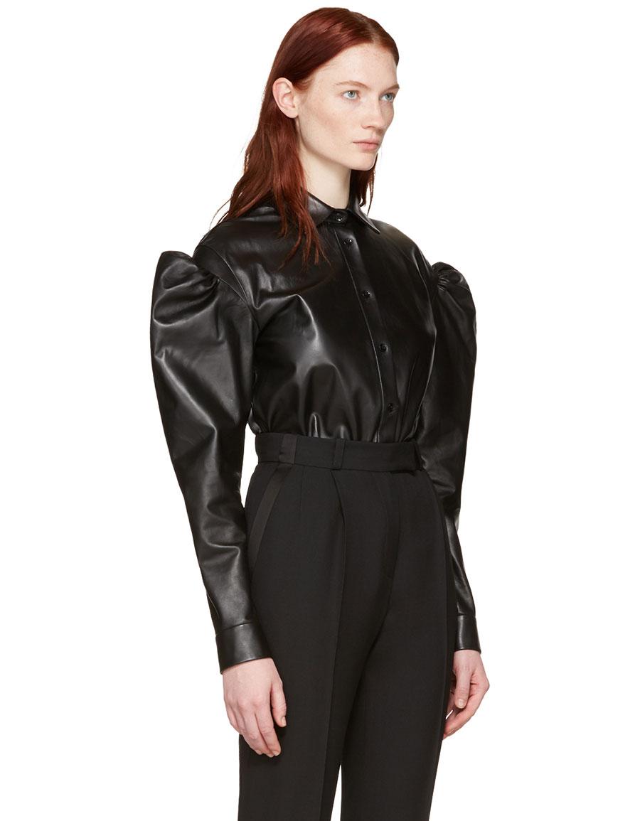SAINT LAURENT Black Leather Butterfly Shoulder Shirt