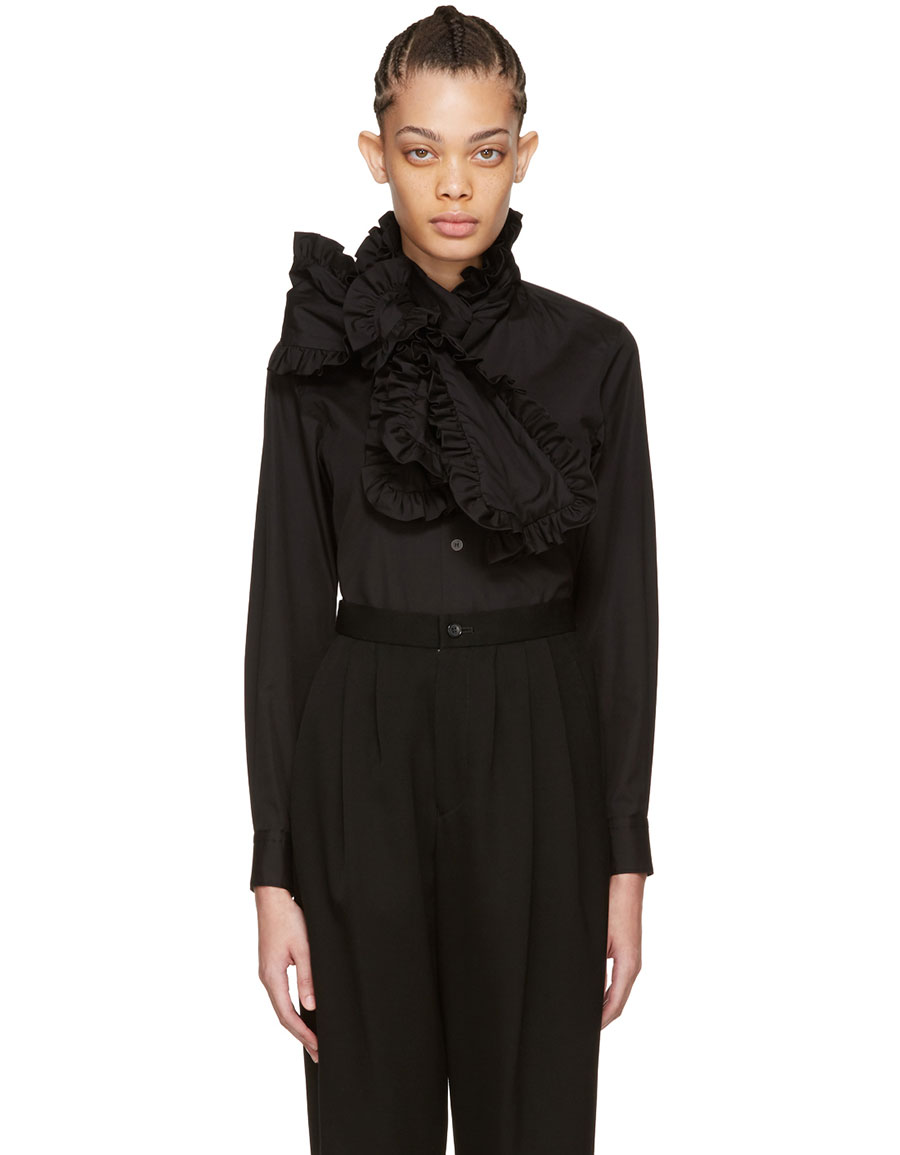 COMME DES GARÇONS Black Ruffle Tie Long Shirt