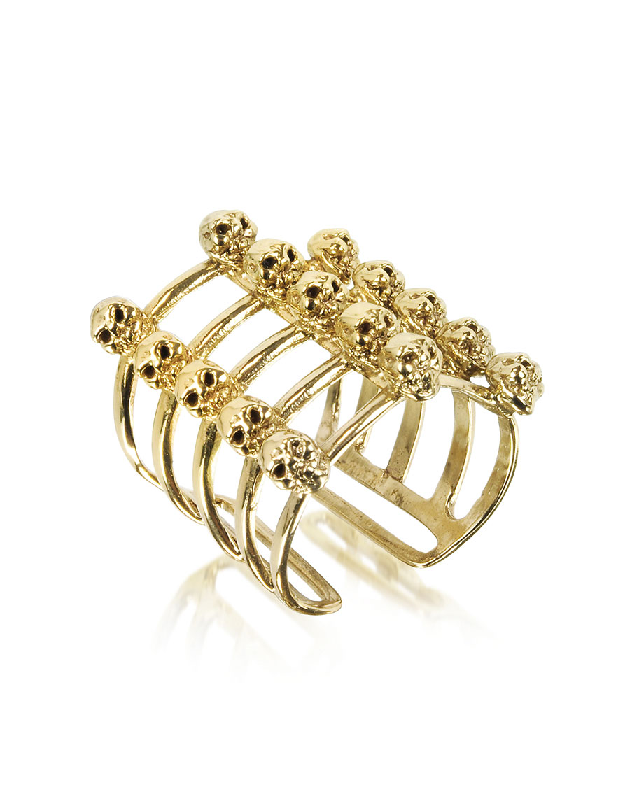 BERNARD DELETTREZ Cage and Skulls Bronze Ring