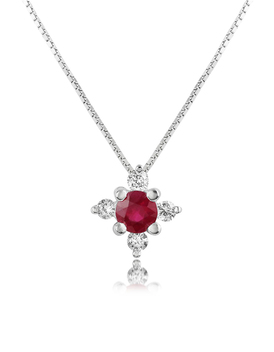 INCANTO ROYALE Diamond and Ruby Flower 18K Gold Pendant Necklace