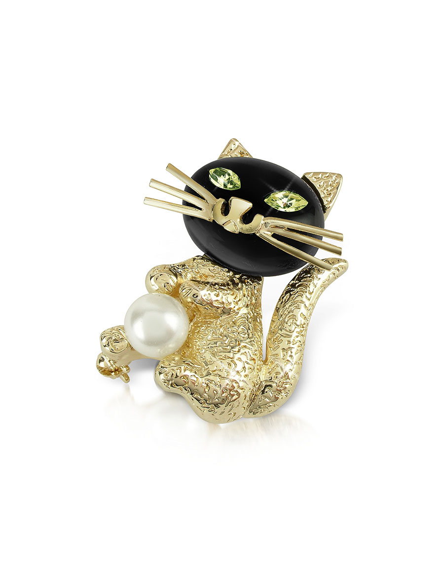 AZ COLLECTION Green Eyed Cat Pin