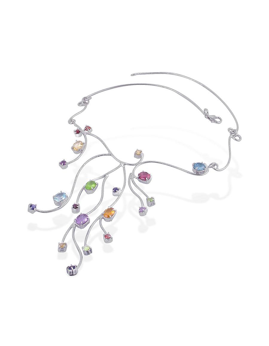 FORZIERI Sterling Silver Multi Gemstones Necklace
