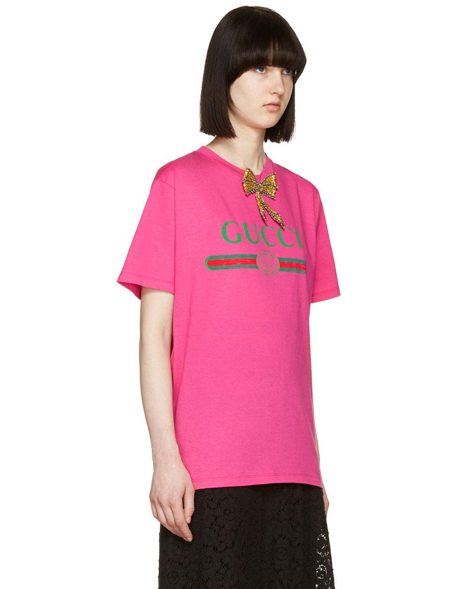GUCCI Pink Bow Logo T Shirt