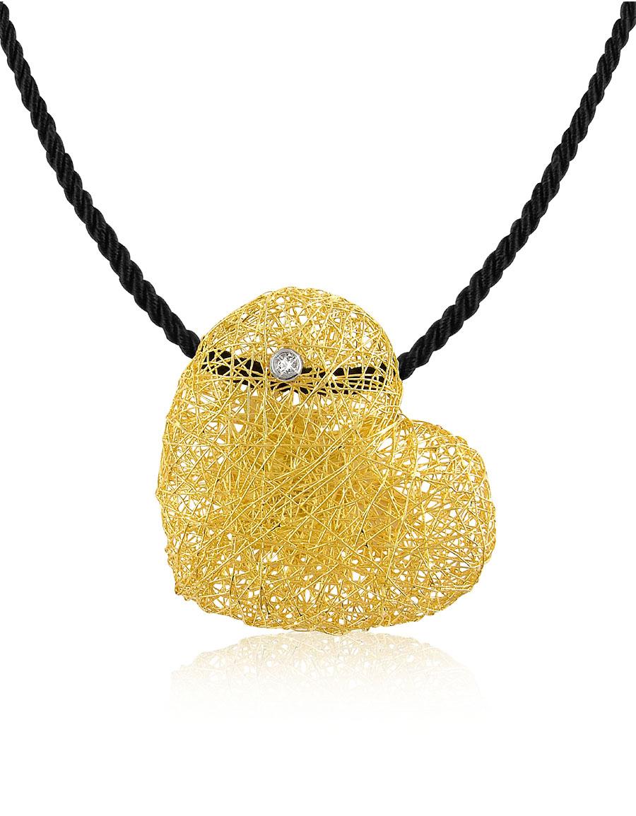 ORLANDO ORLANDINI Arianna Diamond Heart Pendant w/Velvet Lace