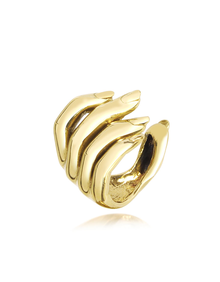 BERNARD DELETTREZ Goldtone Open Hand Women's Bronze Ring