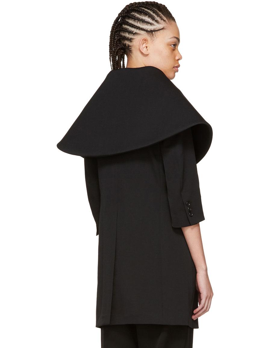 COMME DES GARÇONS Black Exaggerated Collar Coat