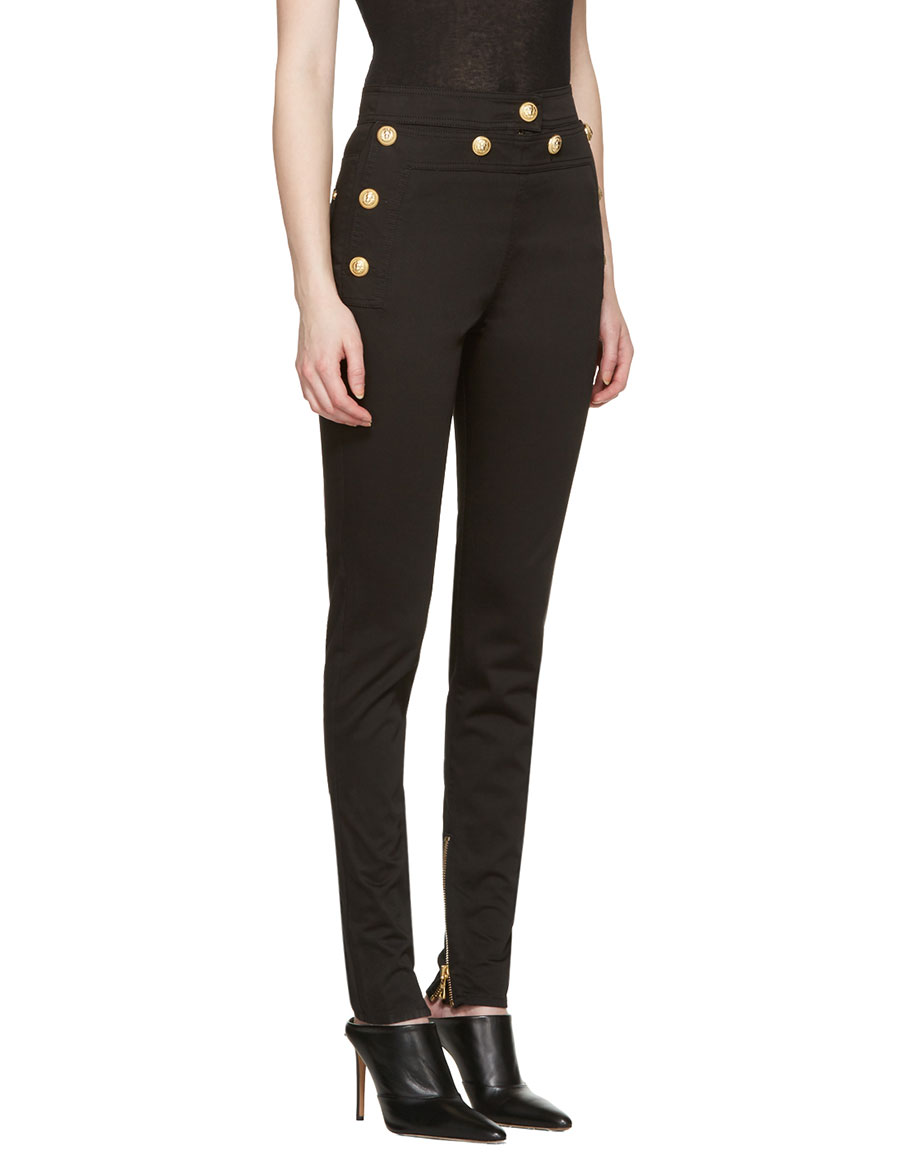 BALMAIN Black Gold Buttons Jeans