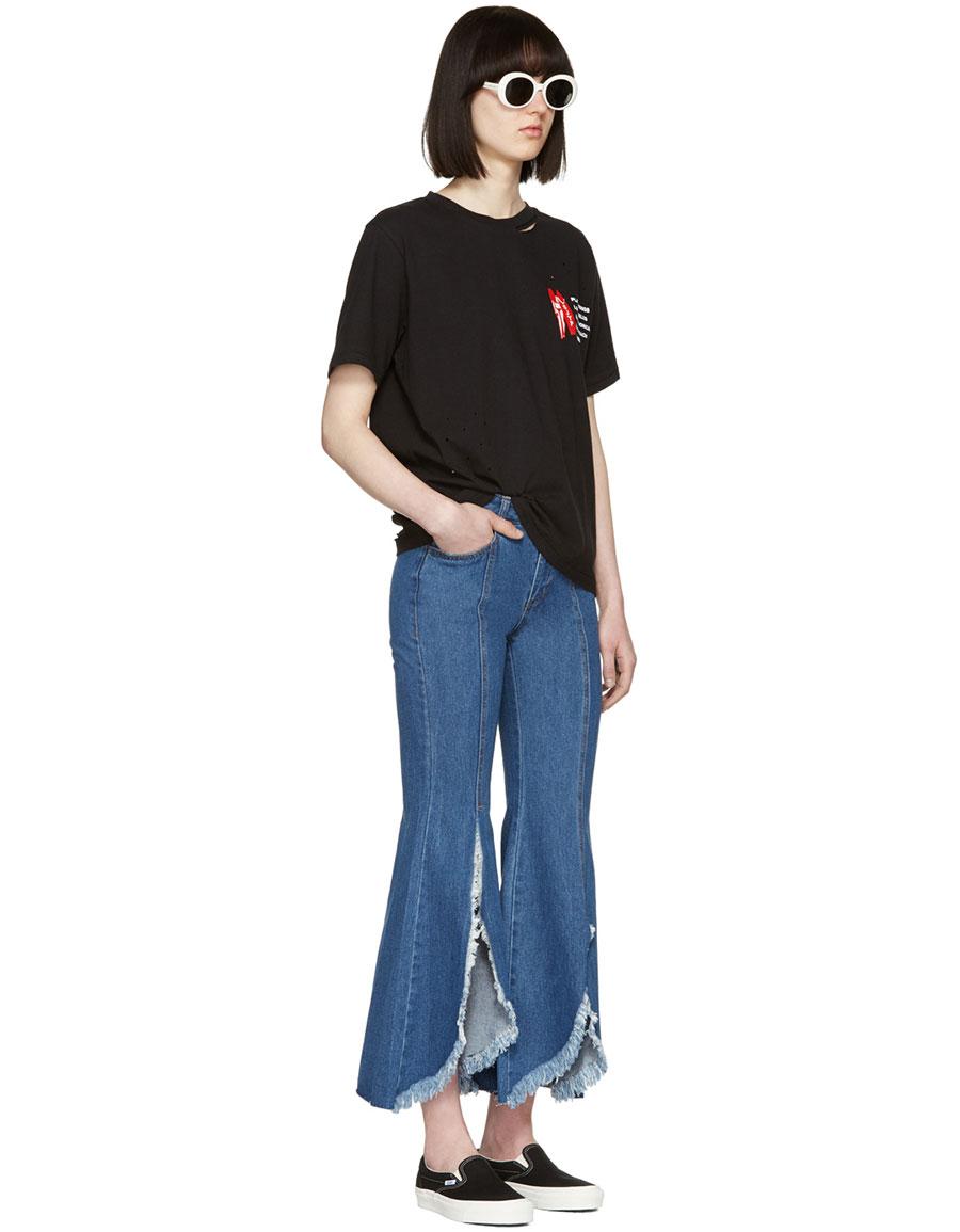 SJYP Blue Front Cut Off Jeans