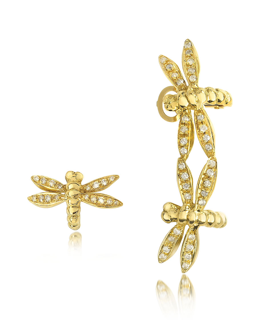 BERNARD DELETTREZ Dragonflies 18K Gold Earrings w/Diamonds