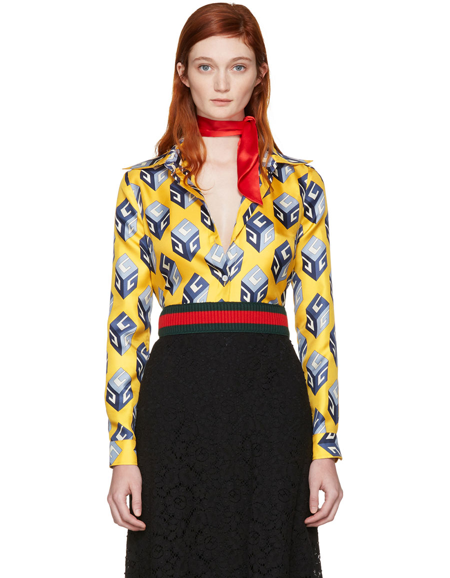 GUCCI Yellow 'Gucci Cube' Silk Shirt
