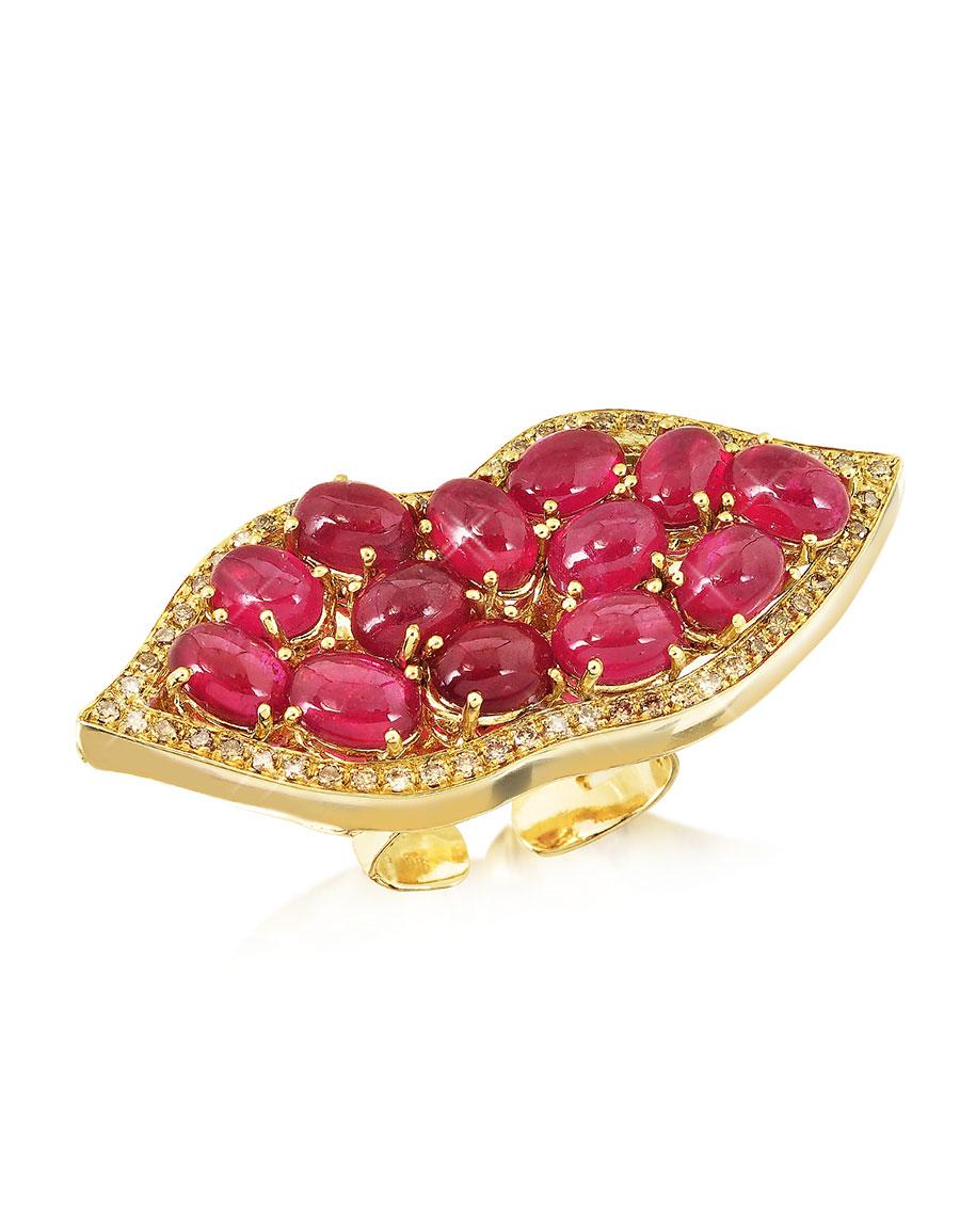 BERNARD DELETTREZ Big Mouth w/Cabochon Rubies Gold Ring