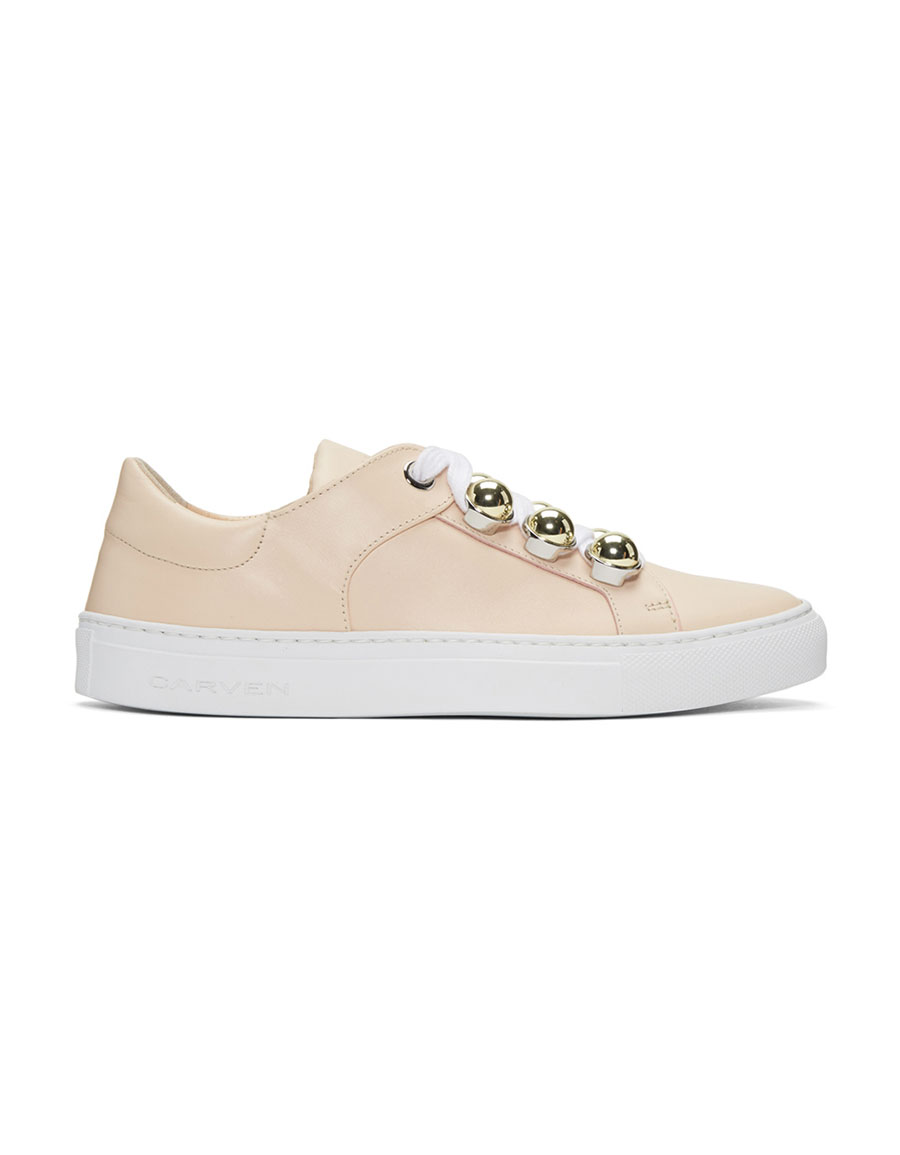 CARVEN Beige Button Sneakers