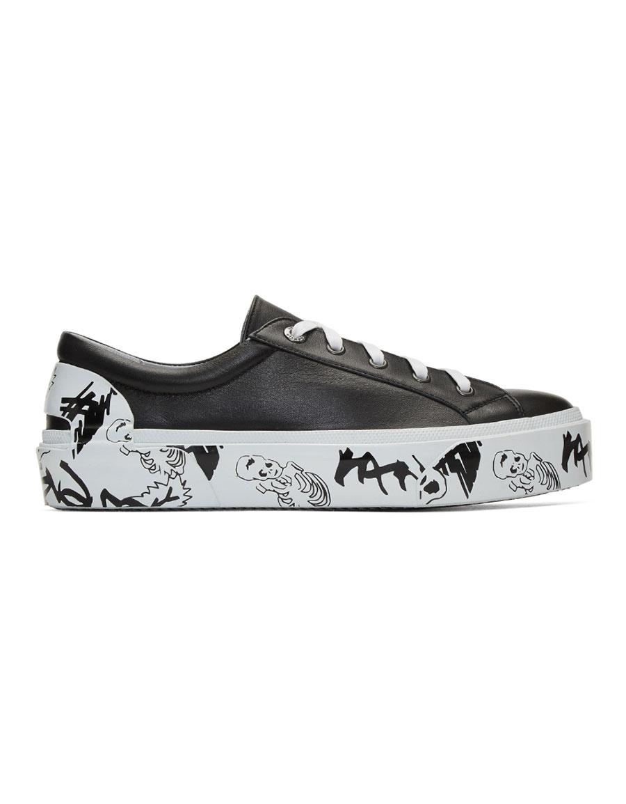 LANVIN Black Leather Derby Sneakers