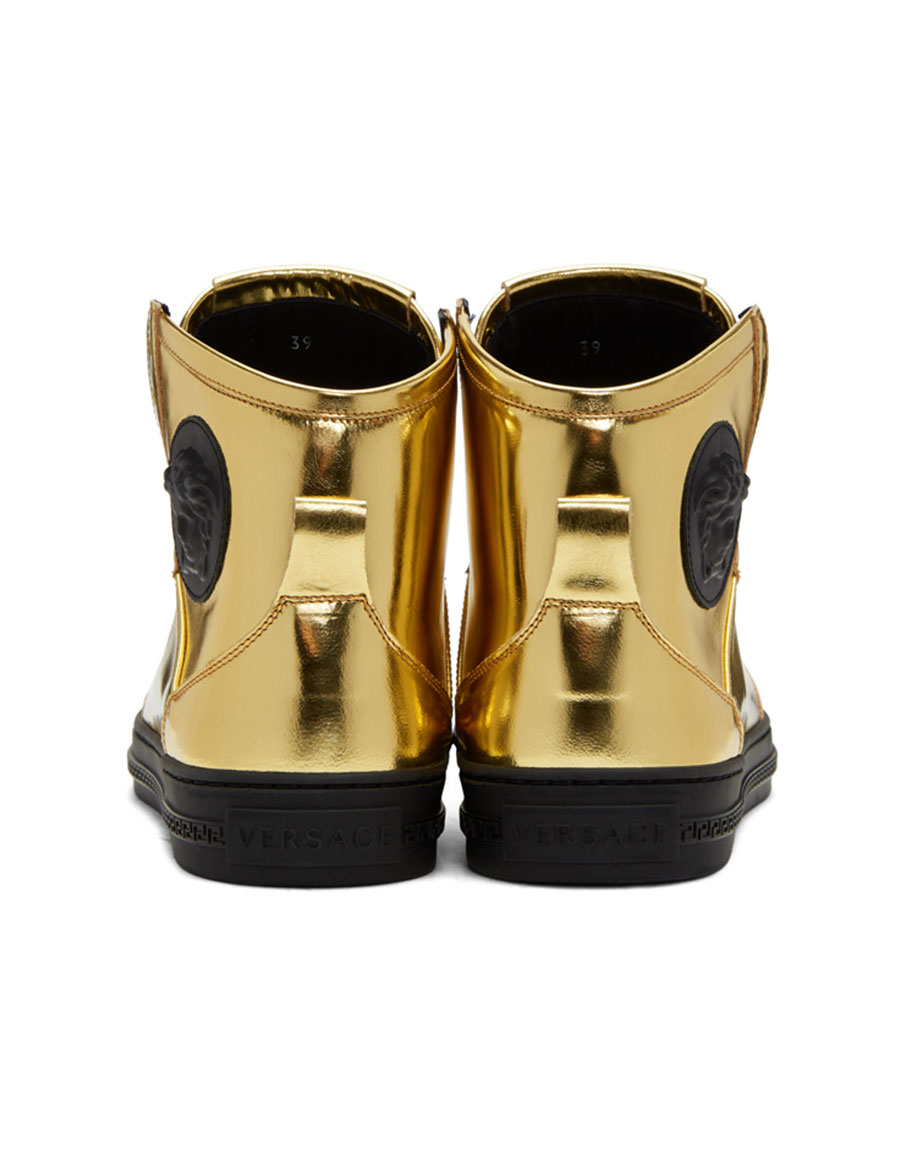 VERSACE Gold Medusa High Top Sneakers