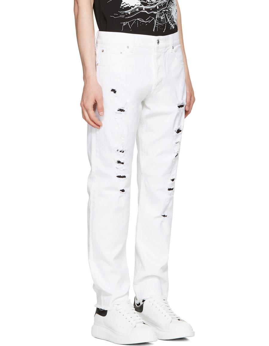ALEXANDER MCQUEEN White Distressed Jeans