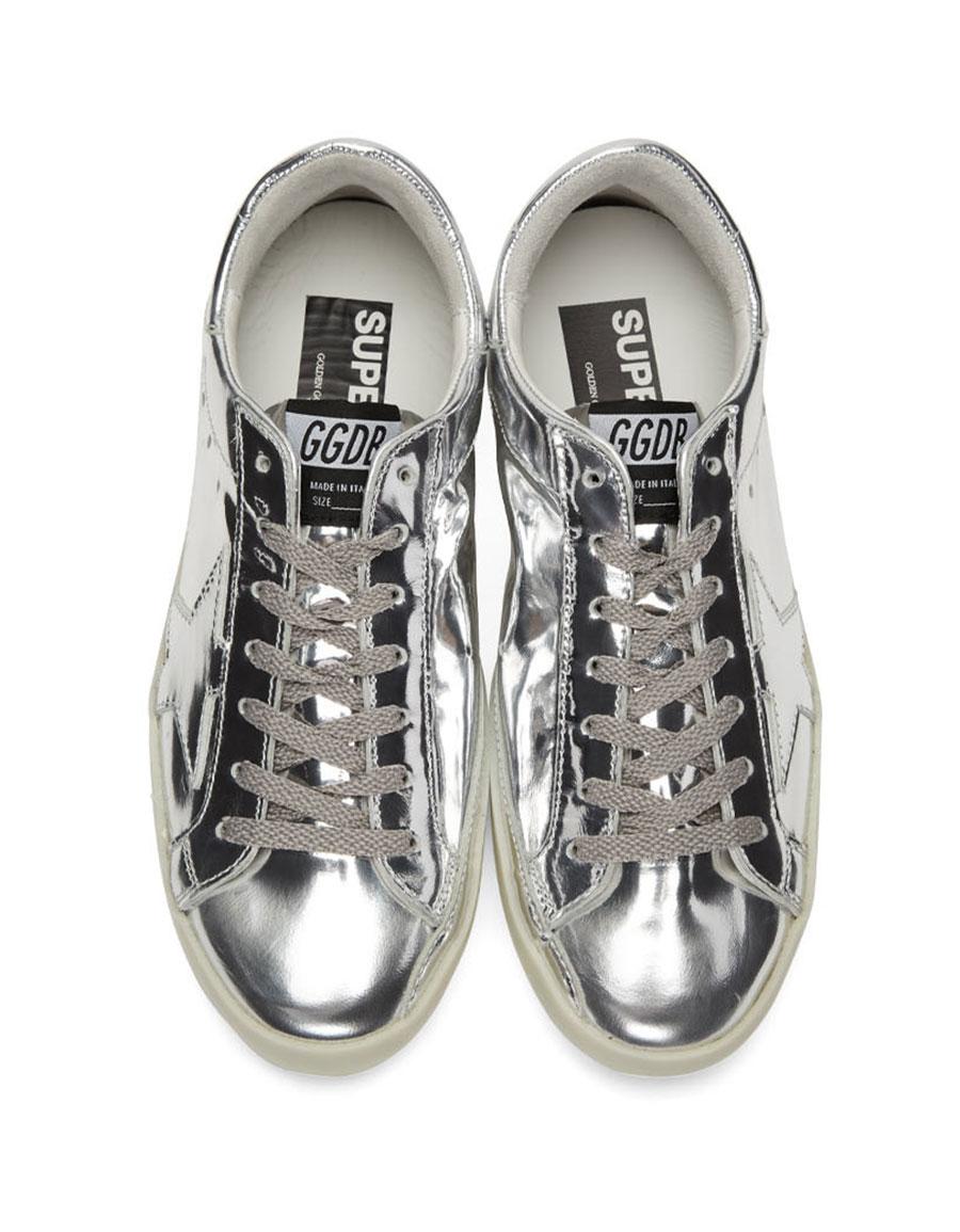 GOLDEN GOOSE Silver Metal Superstar Sneakers