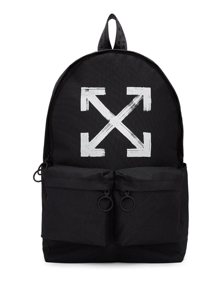 OFF WHITE Black Brushed Backpack