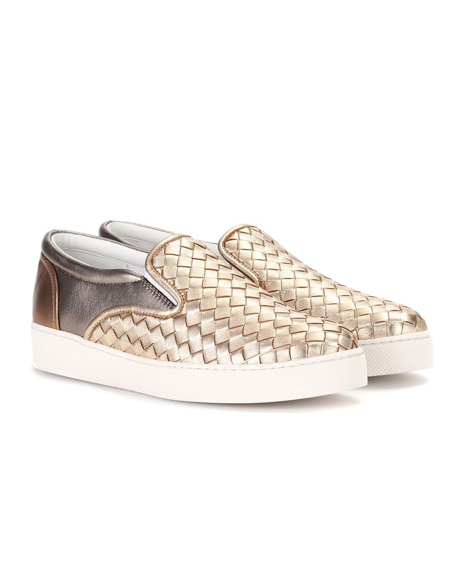 BOTTEGA VENETA Intrecciato leather slip on sneakers