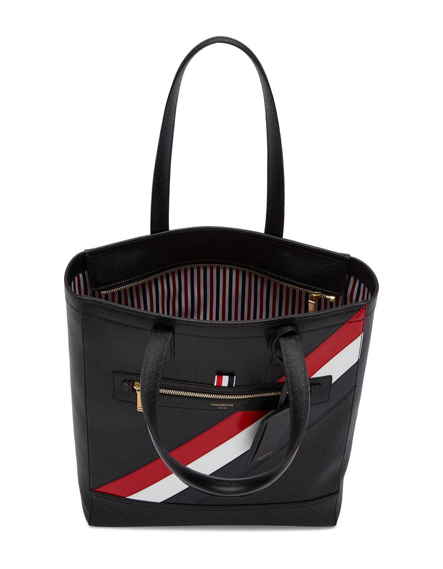 Thom Browne Black Stripe Tote Bag