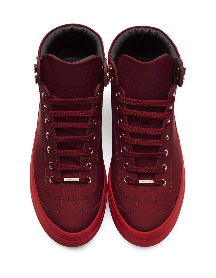 JIMMY CHOO Red Argyle High Top Sneakers