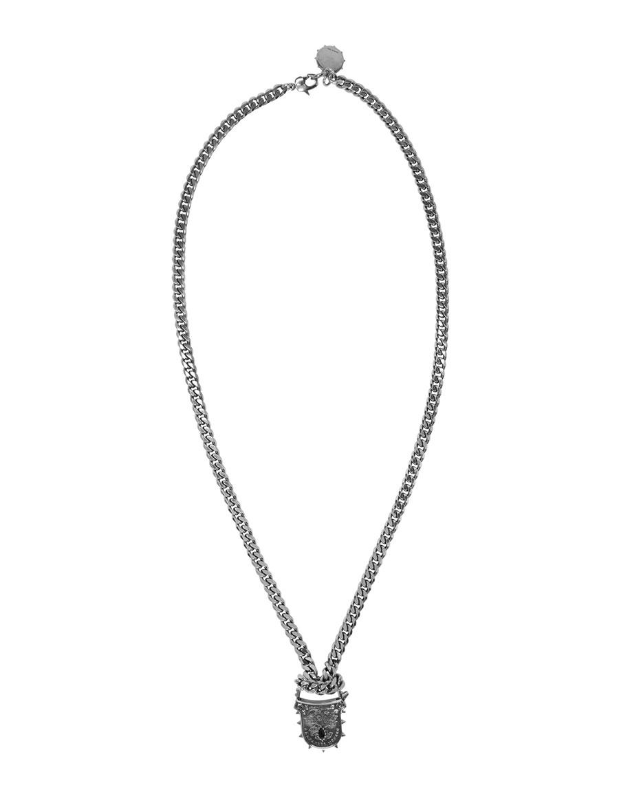 ALEXANDER MCQUEEN Silver Padlock Chain Necklace