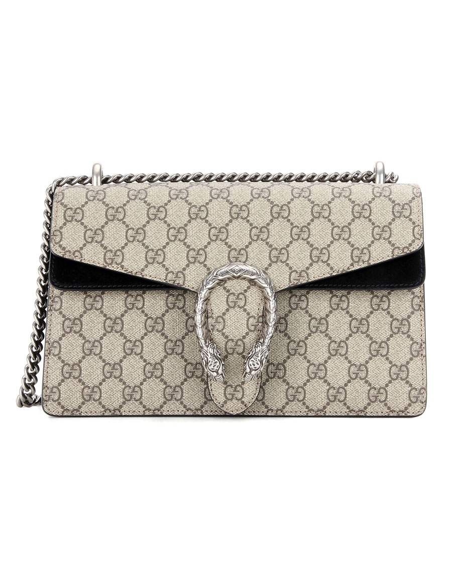 GUCCI Dionysus GG Supreme Small coated canvas and suede shoulder bag