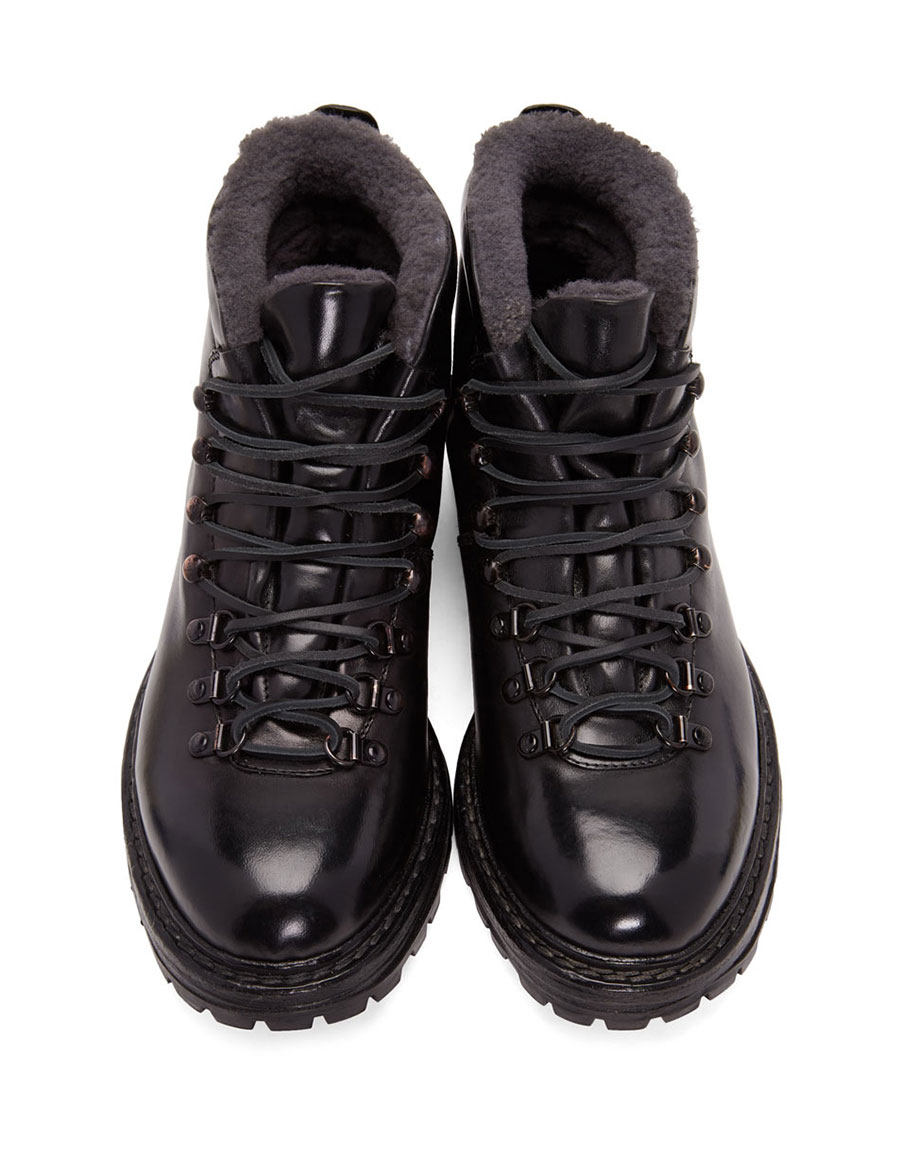 OFFICINE CREATIVE Black Shearling Kontra Hiking Boots