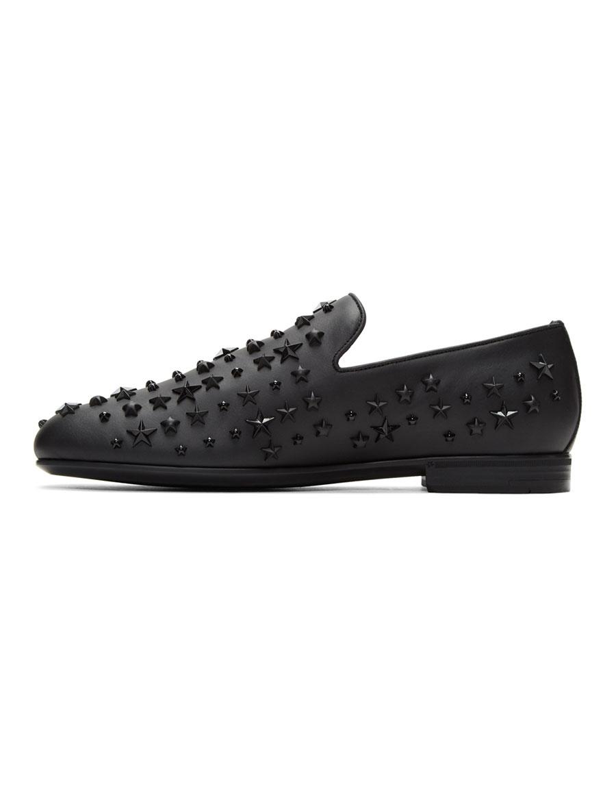 JIMMY CHOO Black Stars Sloane Loafers