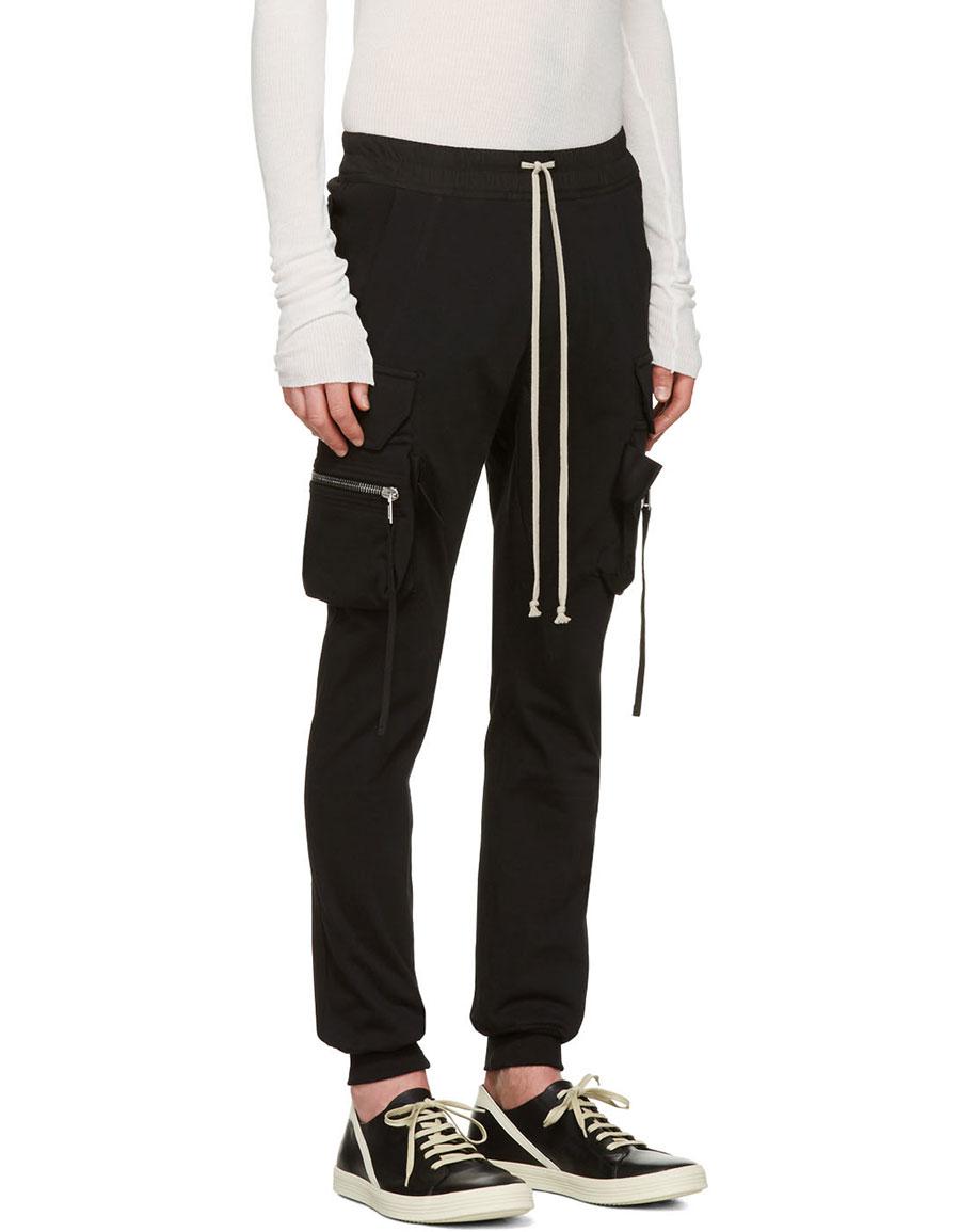 RICK OWENS Black Drawstring Cargo Jog Trousers