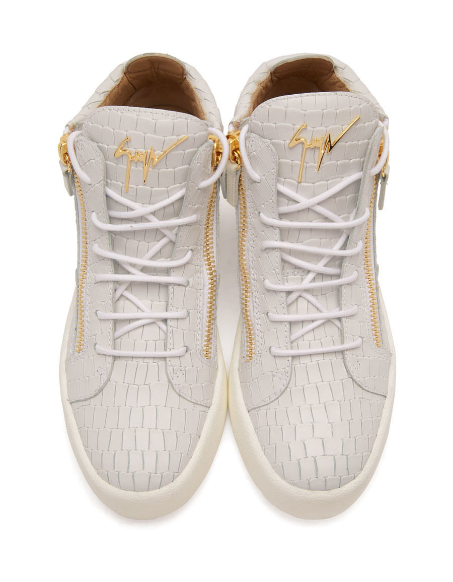 GIUSEPPE ZANOTTI Off White Croc Embossed Zayn High Top Sneakers