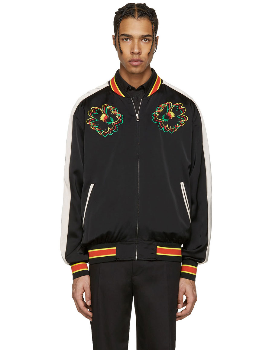 STELLA MCCARTENY Black Embroidered Floral Bomber Jacket