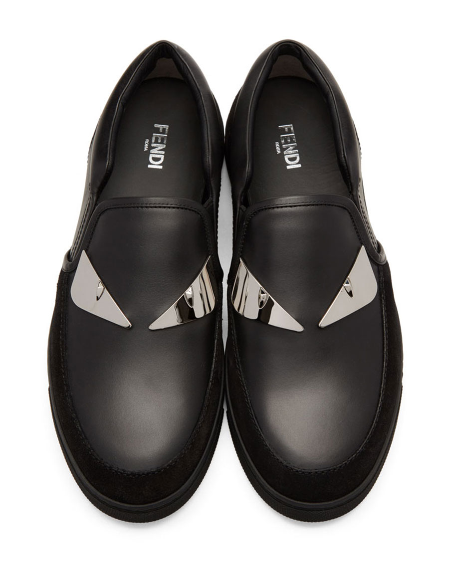 FENDI Black 'Bag Bugs' Slip On Sneakers