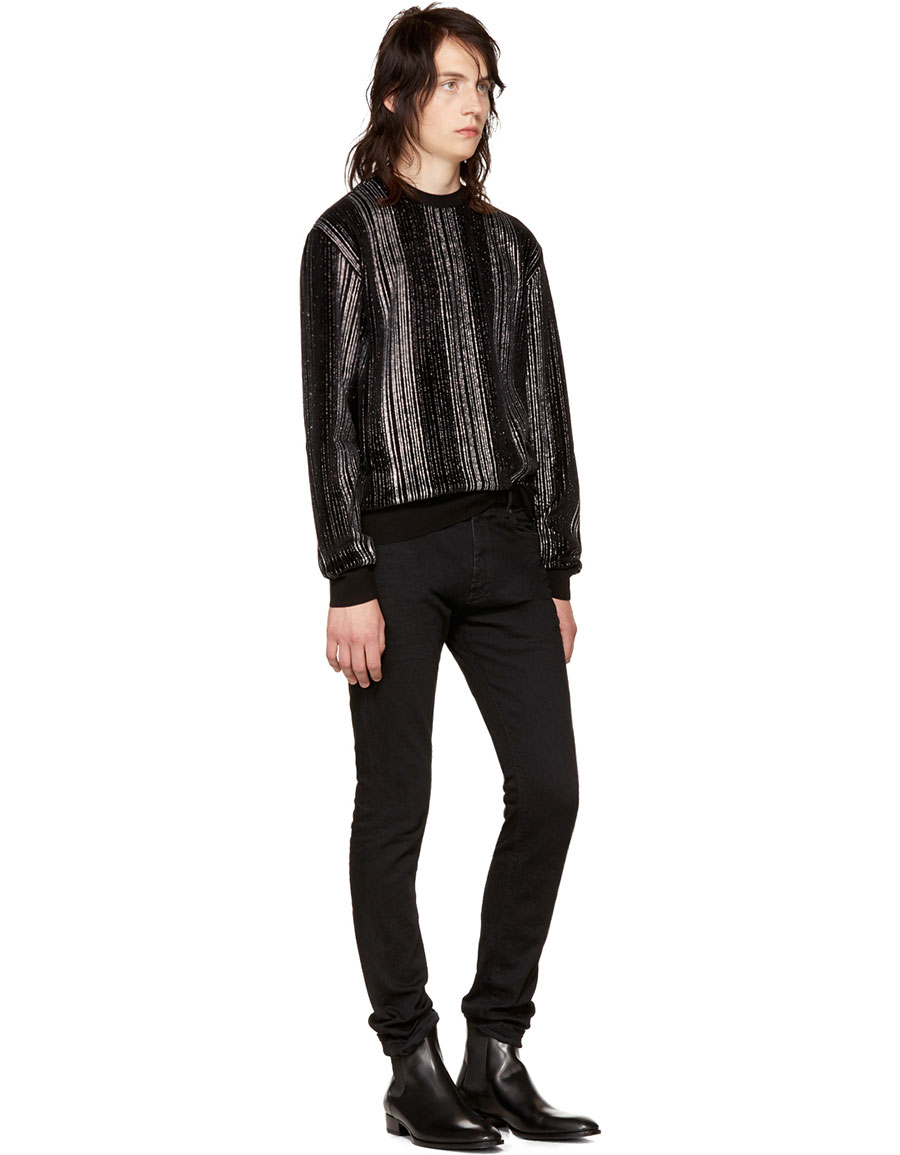 SAINT LAURENT Black Striped Glitter Sweatshirt